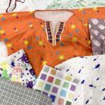 オリジナルデザインのプリント生地と部屋着の縫製